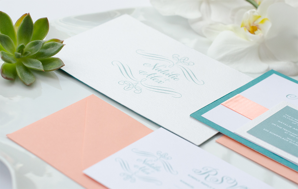 Blissful coral, teal, and gold wedding invitation suite
