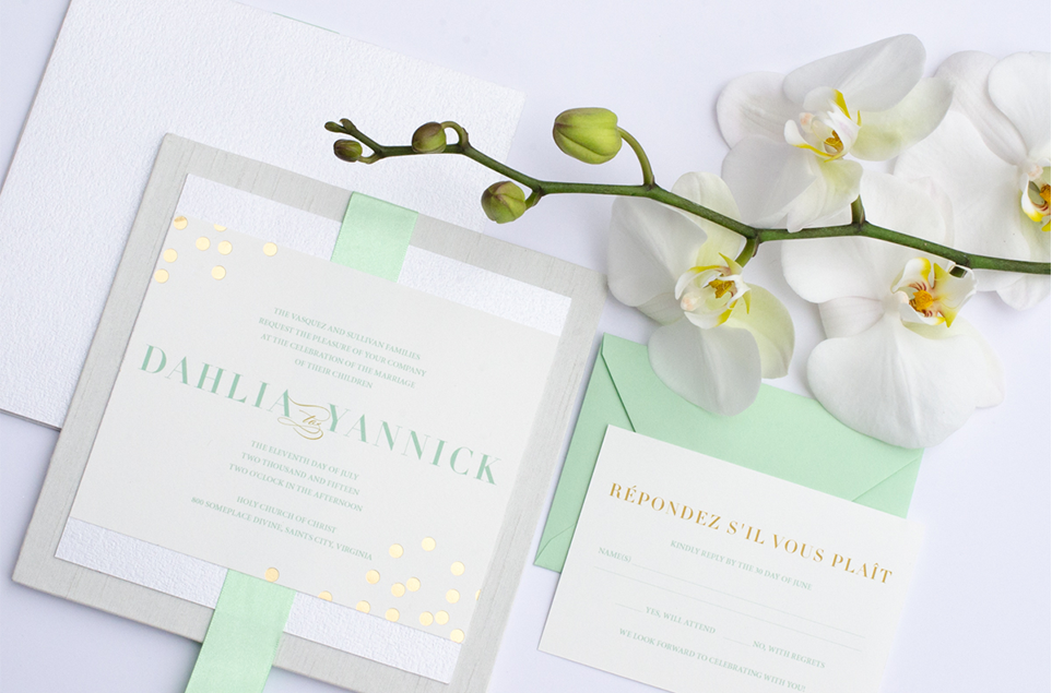 Boxed mint white gold foil luxury wedding invitation