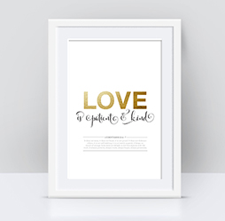 Love is Patient and Kind Gold Foil Print