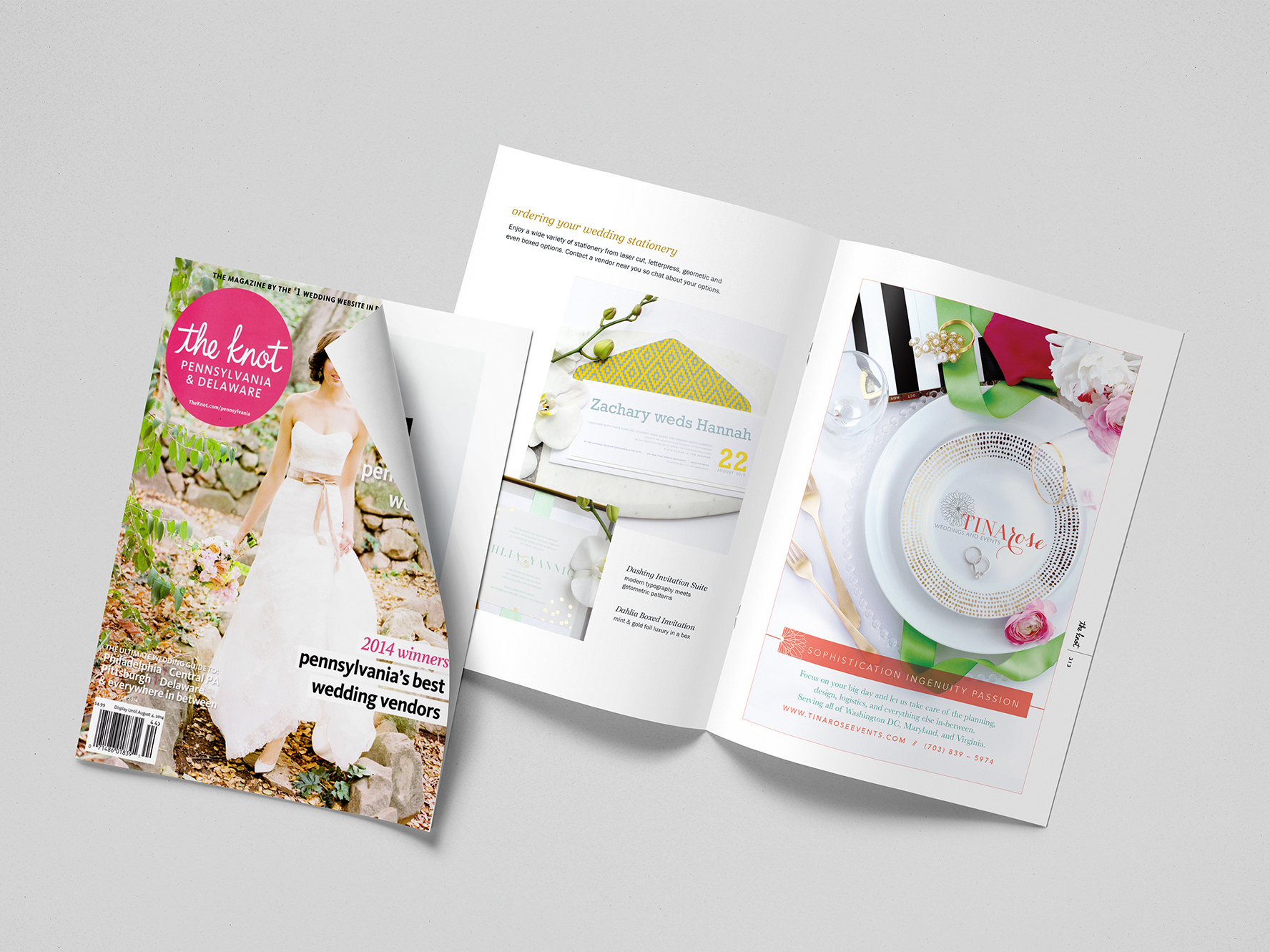 TinaRose Weddings and Events' The Knot Magazine Ad